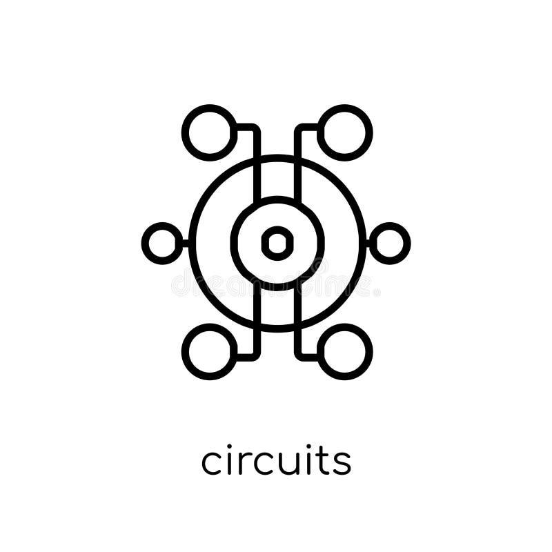 Ícone dos circuitos O vetor linear liso moderno na moda circuita o ícone sobre ilustração stock