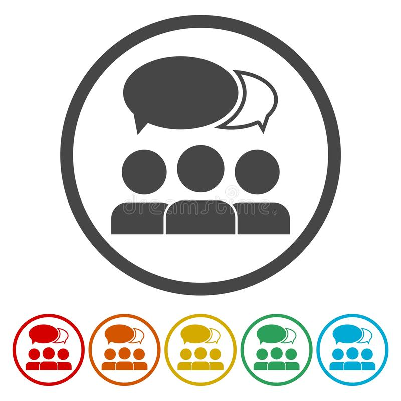 Ícone dos comentários - homens com bolhas ilustração do vetor