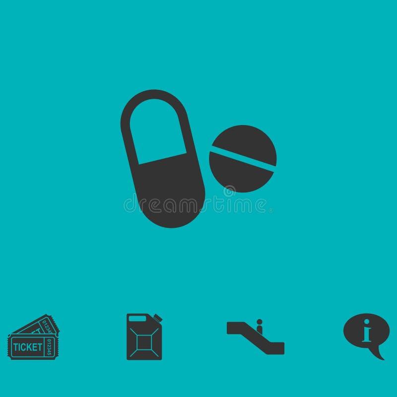Ícone dos comprimidos liso ilustração do vetor