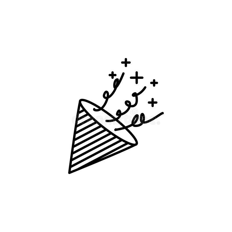 ícone dos confetes Elemento do ícone oarty do esboço do ano novo Linha fina ícone para o projeto do Web site e o desenvolvimento, ilustração stock
