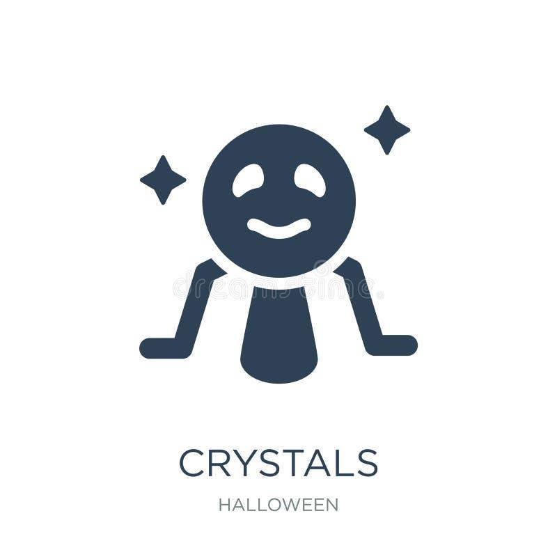 ícone dos cristais no estilo na moda do projeto ícone dos cristais isolado no fundo branco plano simples e moderno do ícone do ve ilustração stock