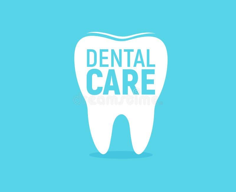 Ícone dos cuidados dentários Proteção do esmalte de dente Molde liso do logotipo Ideia moderna do emblema Projeto de conceito par ilustração stock