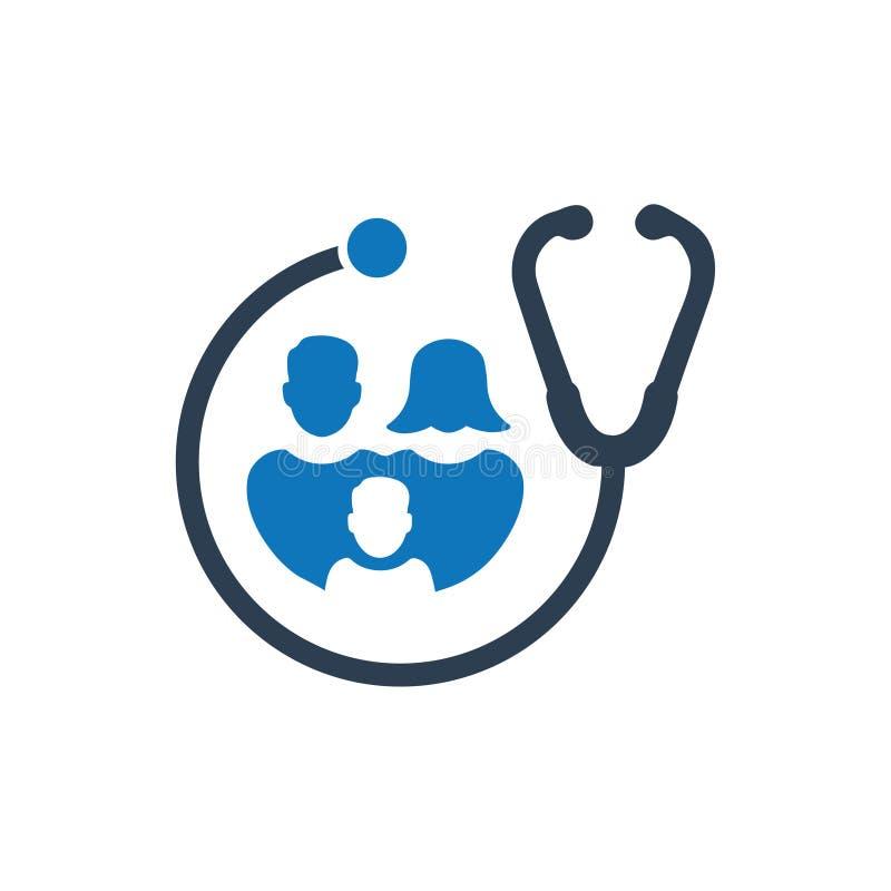 Ícone dos cuidados médicos da família ilustração do vetor