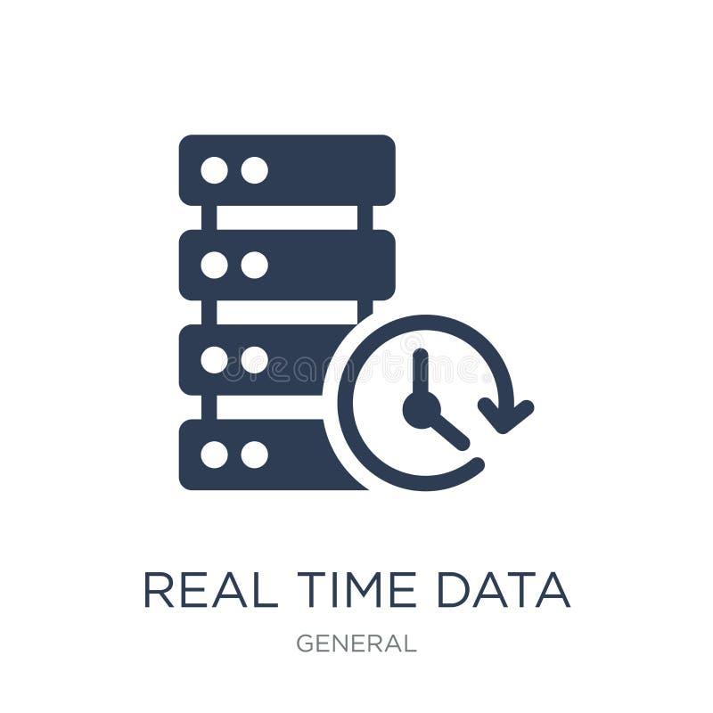ícone dos dados do tempo real Ícone liso na moda dos dados do tempo real do vetor em w ilustração do vetor