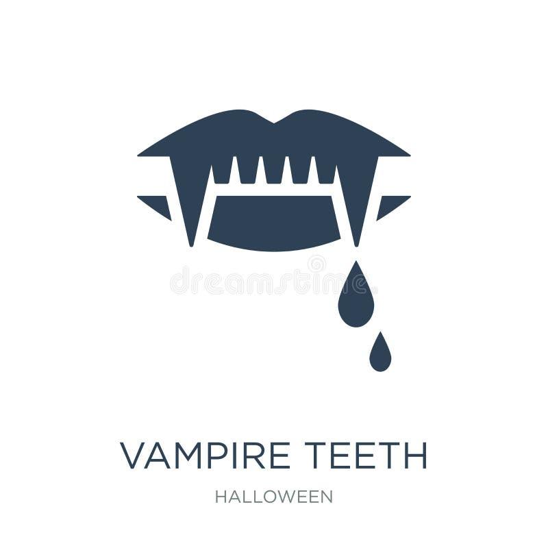 ícone dos dentes do vampiro no estilo na moda do projeto ícone dos dentes do vampiro isolado no fundo branco ícone do vetor dos d ilustração do vetor