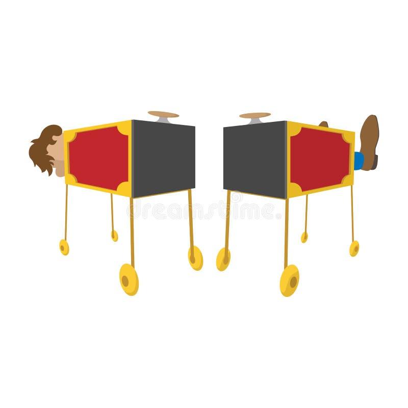 Ícone dos desenhos animados da caixa do sawing do mágico ilustração stock