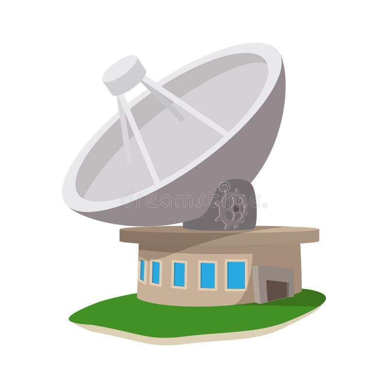 Ícone dos desenhos animados da estação de comunicação satélite ilustração royalty free