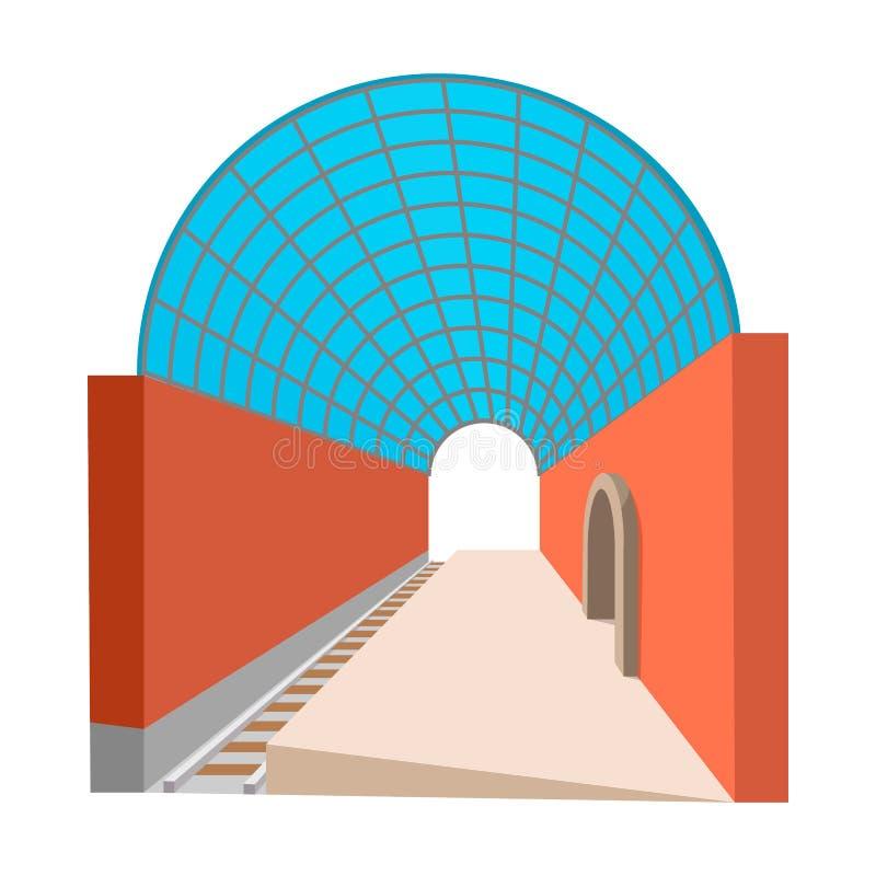 Ícone dos desenhos animados da estação de metro ilustração royalty free