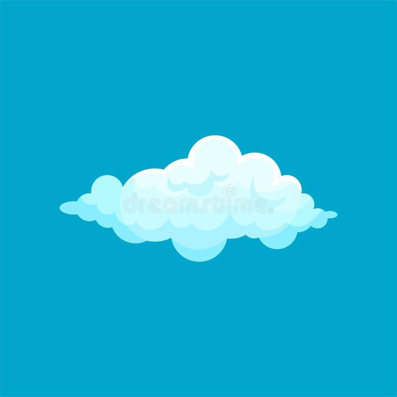 Ícone dos desenhos animados da luz macia - voo azul da nuvem no céu Símbolo de tempo Vetor liso para o livro móvel do app ou de c ilustração do vetor