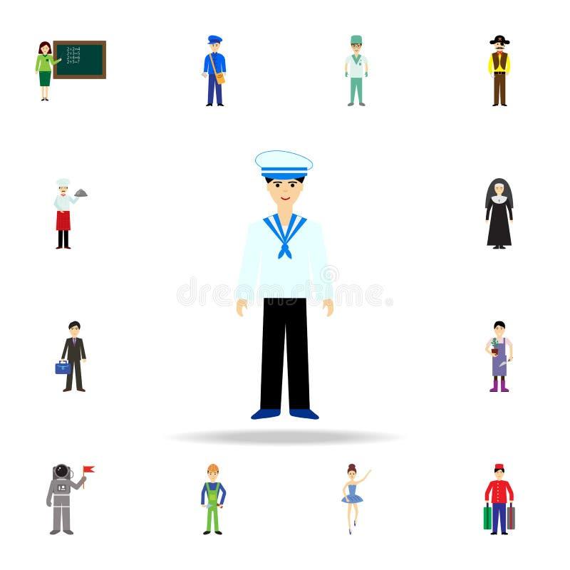 Ícone dos desenhos animados do marinheiro Grupo detalhado de ícones da profissão da cor Projeto gráfico superior Um dos ícones da ilustração royalty free