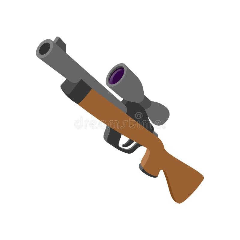 Ícone dos desenhos animados do rifle da caça ilustração do vetor