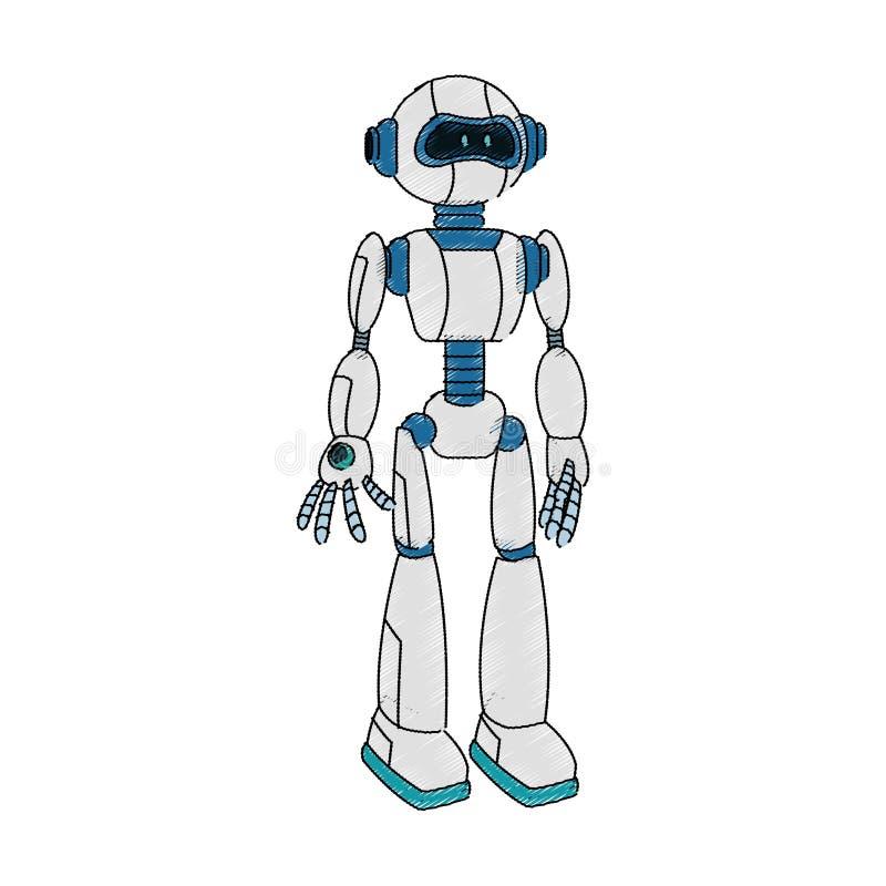 Ícone dos desenhos animados do robô ilustração stock