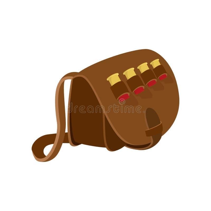 Ícone dos desenhos animados do saco de couro do caçador ilustração stock