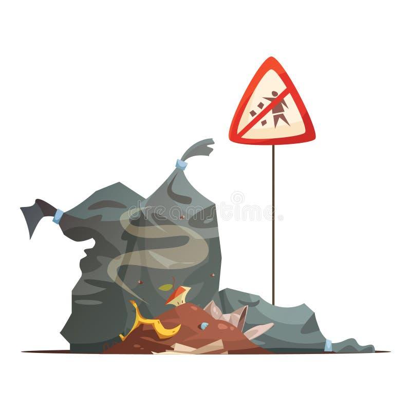 Ícone dos desenhos animados do triturador do sinal de aviso ilustração do vetor