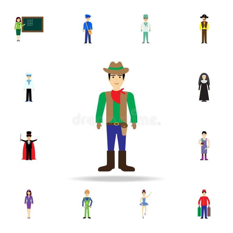 Ícone dos desenhos animados do vaqueiro Grupo detalhado de ícones da profissão da cor Projeto gráfico superior Um dos ícones da c ilustração royalty free