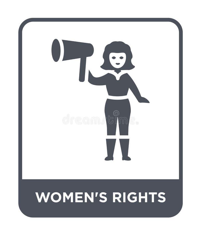 ícone dos direitos das mulheres no estilo na moda do projeto ícone dos direitos das mulheres isolado no fundo branco ícone do vet ilustração stock