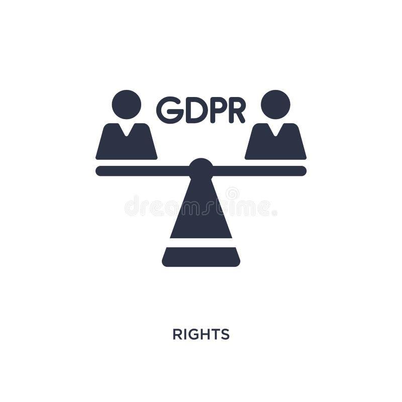 ícone dos direitos no fundo branco Ilustração simples do elemento do conceito do gdpr ilustração stock