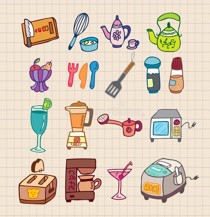 Ícone dos dispositivos de cozinha ilustração royalty free