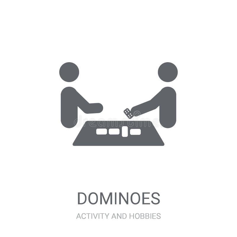 Ícone dos dominós Conceito na moda do logotipo dos dominós no fundo branco ilustração do vetor