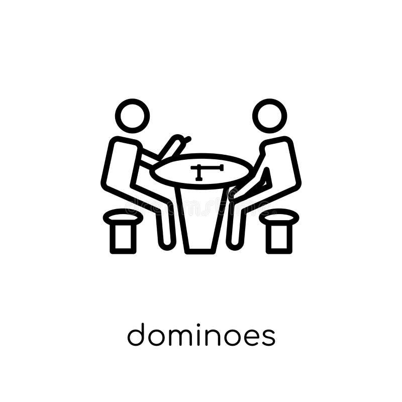 Ícone dos dominós Ícone linear liso moderno na moda dos dominós do vetor sobre ilustração stock