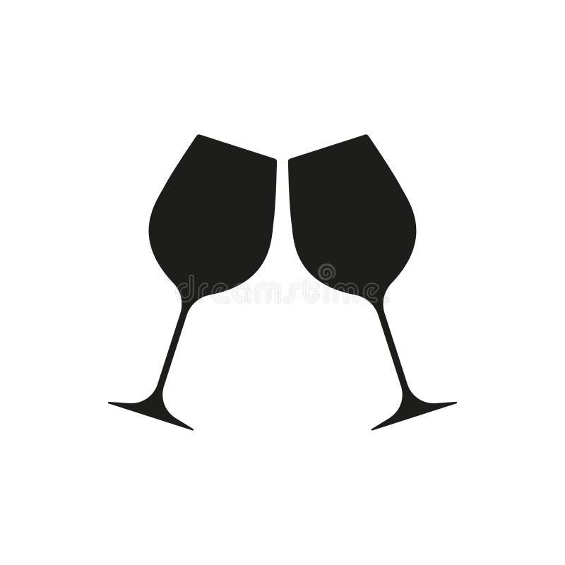 Ícone dos elogios isolado no fundo branco Ícone de dois vidros de vinho Ilustração do vetor ilustração do vetor