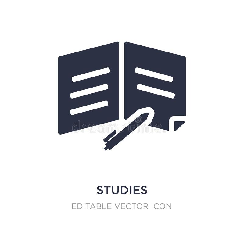 ícone dos estudos no fundo branco Ilustração simples do elemento do conceito da educação ilustração royalty free