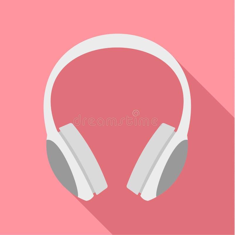 Ícone dos fones de ouvido do DJ, estilo liso ilustração do vetor