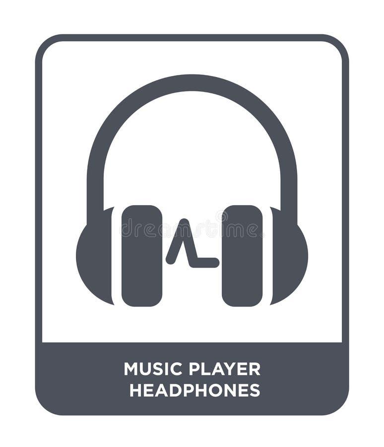 ícone dos fones de ouvido do jogador de música no estilo na moda do projeto ícone dos fones de ouvido do jogador de música isolad ilustração do vetor