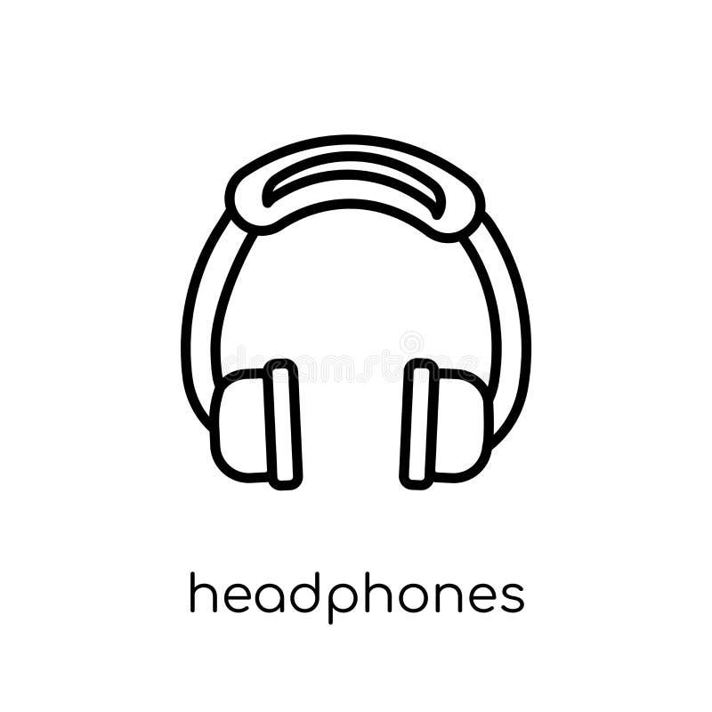 Ícone dos fones de ouvido Ico linear liso moderno na moda dos fones de ouvido do vetor ilustração stock