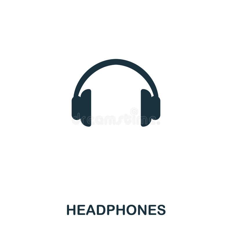 Ícone dos fones de ouvido Linha projeto do ícone do estilo Ui Ilustração do ícone dos fones de ouvido pictograma isolado no branc ilustração stock
