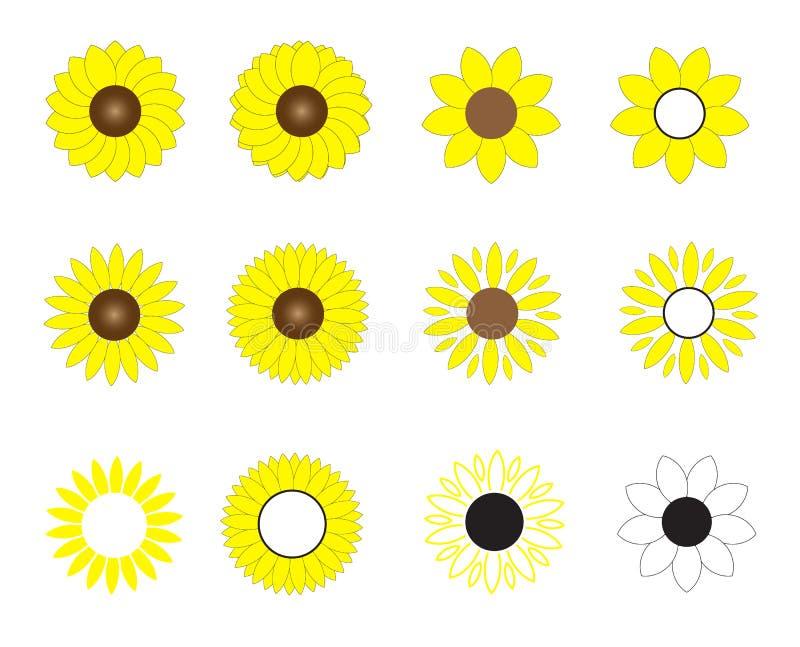 Ícone dos girassóis no fundo branco Estilo liso ícone para seu projeto do site, logotipo das flores do sol, app, UI símbolo das f ilustração royalty free