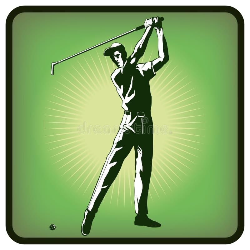 Ícone dos gráficos do jogador de golfe no fundo verde ilustração royalty free