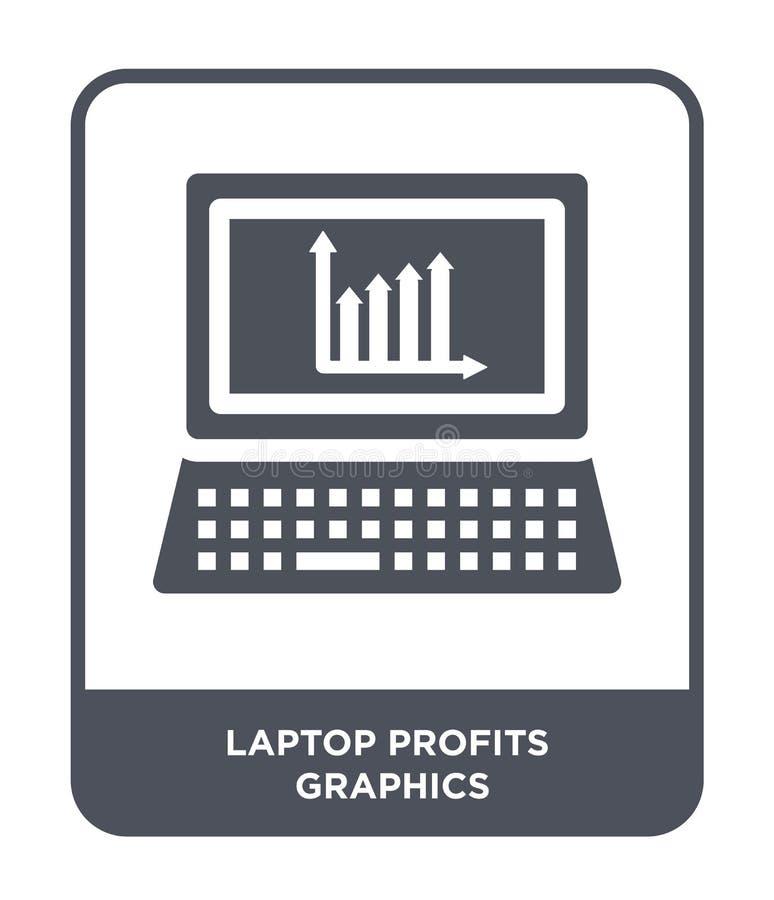 ícone dos gráficos dos lucros do portátil no estilo na moda do projeto ícone dos gráficos dos lucros do portátil isolado no fundo ilustração do vetor