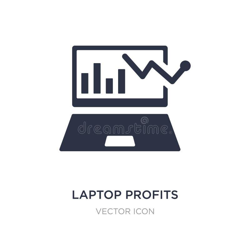 ícone dos gráficos dos lucros do portátil no fundo branco Ilustração simples do elemento do conceito do negócio e da analítica ilustração royalty free