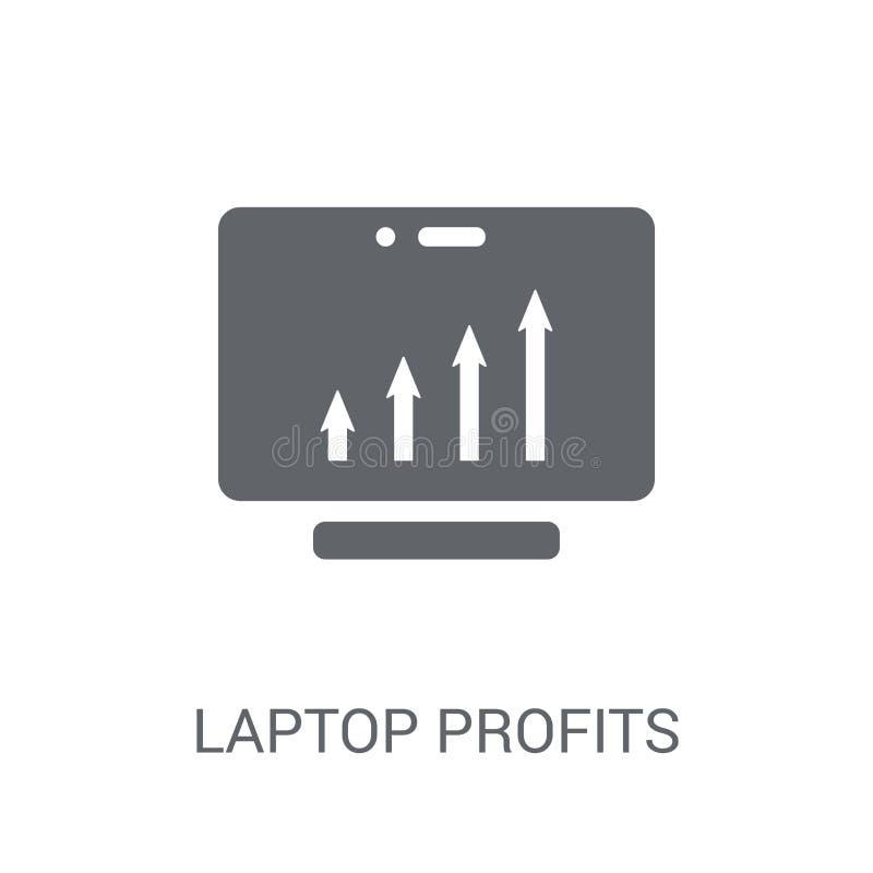 Ícone dos gráficos dos lucros do portátil O portátil na moda lucra o log dos gráficos ilustração do vetor