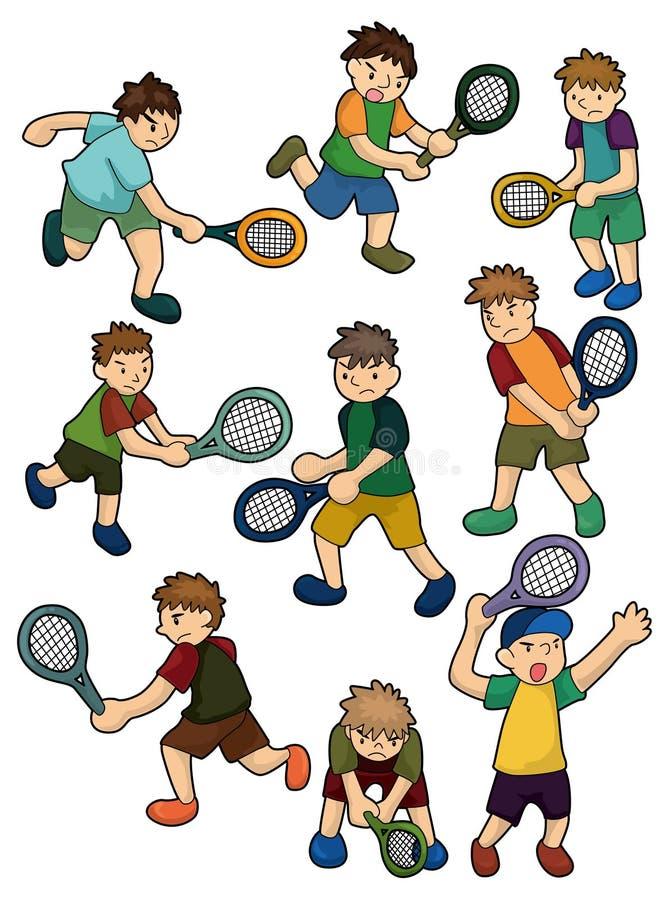 Ícone dos jogadores de ténis dos desenhos animados ilustração stock