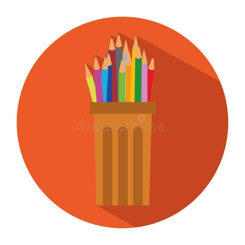 Ícone dos lápis e de lápis coloridos no copo de vidro plástico no estilo liso ilustração do vetor