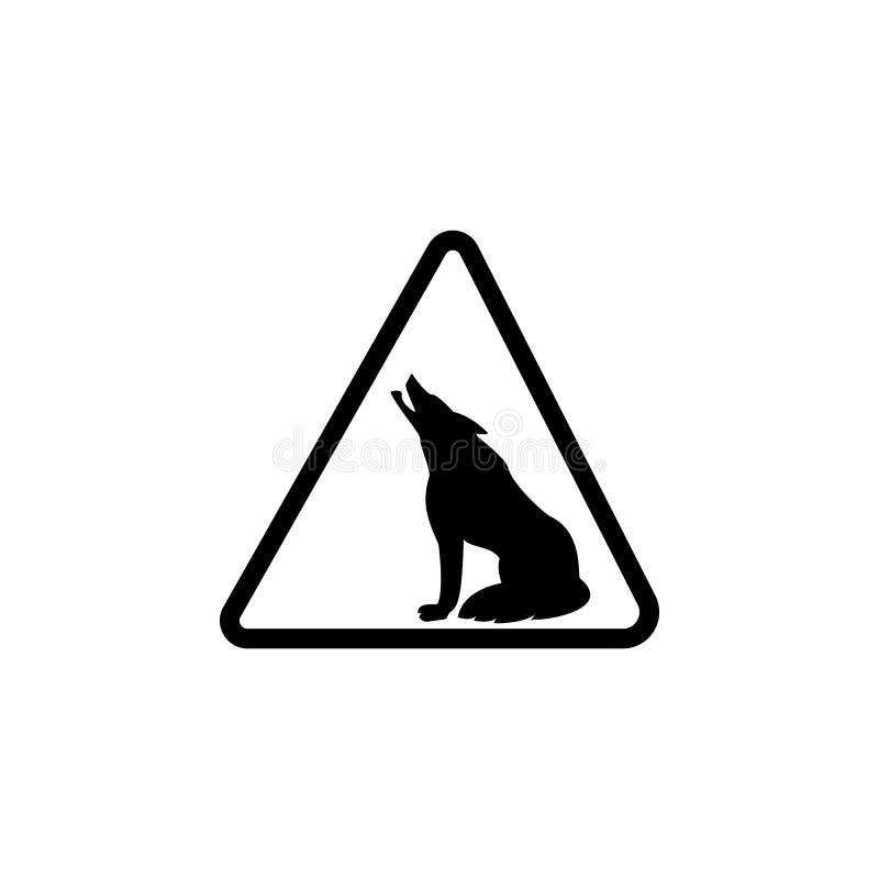 Ícone dos lobos do perigo do sinal Elemento do aviso para apps móveis do conceito e da Web Ícone para o projeto do Web site e o d ilustração do vetor