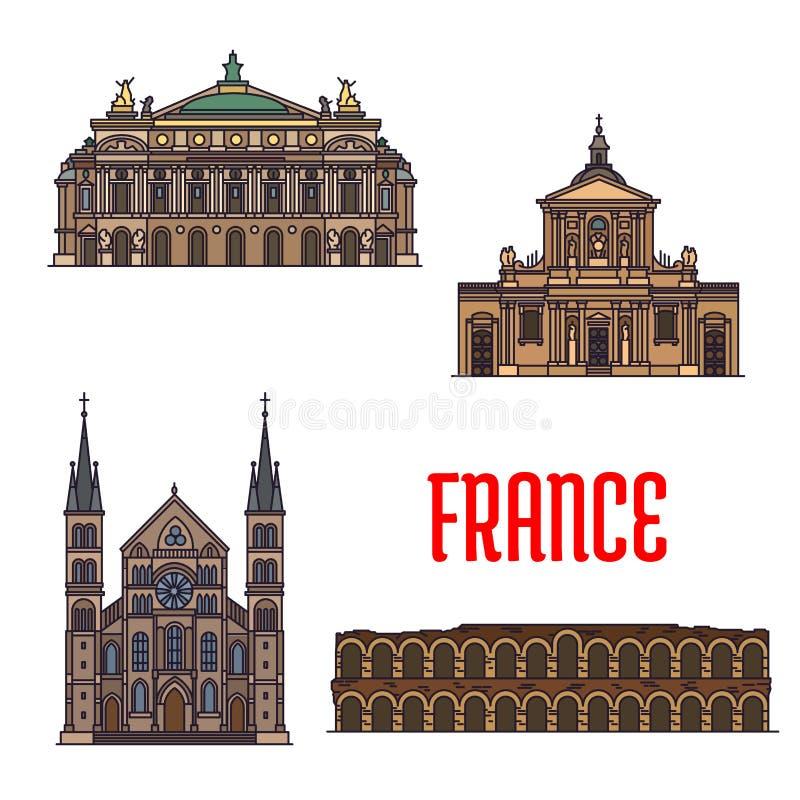 Ícone dos marcos do curso do francês para o projeto do turismo ilustração do vetor