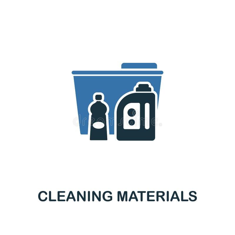 Ícone dos materiais de limpeza E r Ilustração do texto de ilustração stock