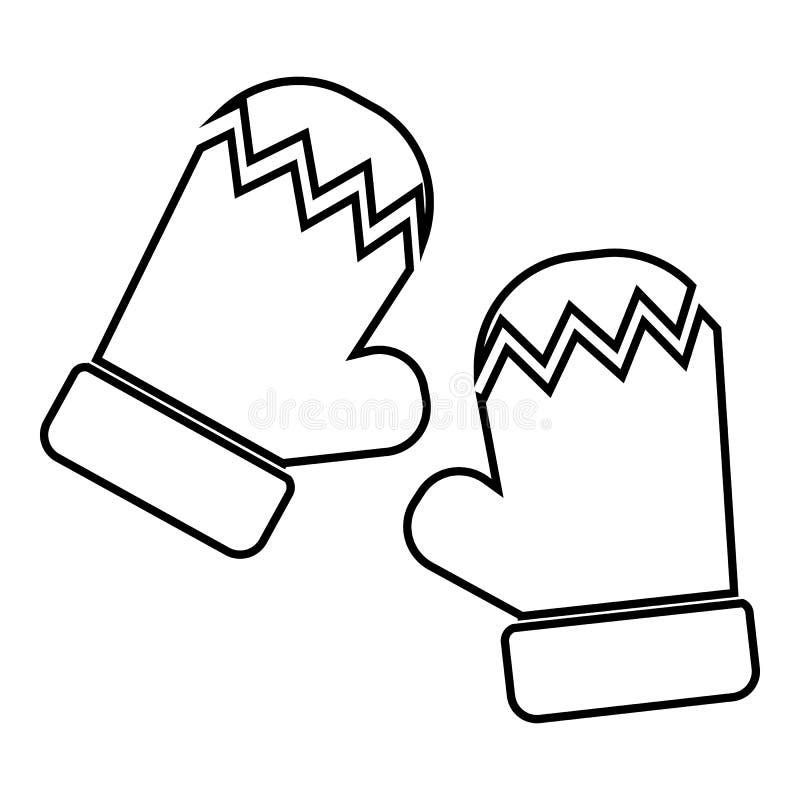 Ícone dos mitenes, estilo do esboço ilustração stock
