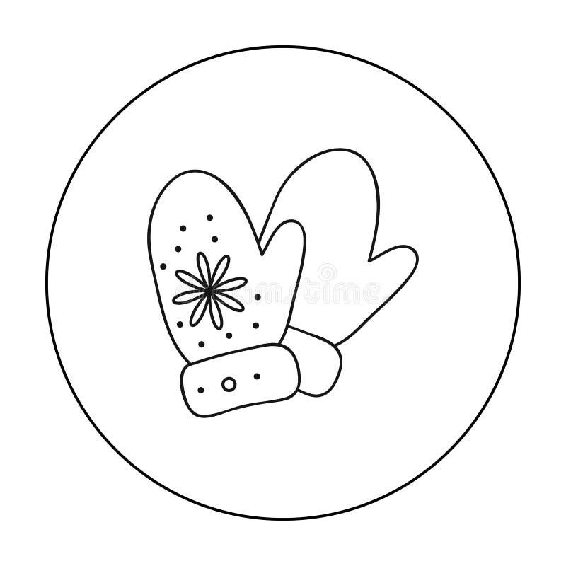 Ícone dos mitenes no estilo do esboço isolado no fundo branco Ilustração do vetor do estoque do símbolo da estância de esqui ilustração stock