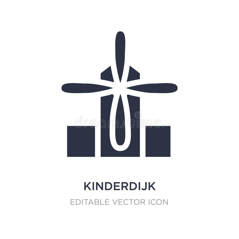 ícone dos moinhos de vento do kinderdijk no fundo branco Ilustração simples do elemento do conceito dos monumentos ilustração do vetor