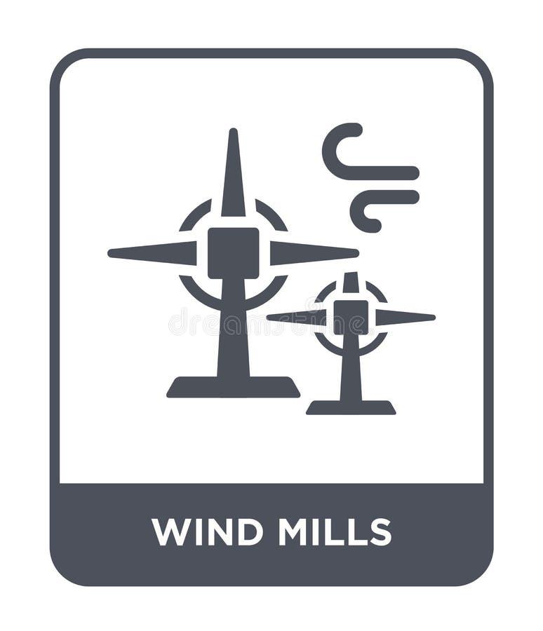ícone dos moinhos de vento no estilo na moda do projeto ícone dos moinhos de vento isolado no fundo branco ícone do vetor dos moi ilustração royalty free