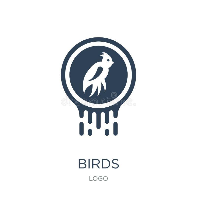 ícone dos pássaros no estilo na moda do projeto ícone dos pássaros isolado no fundo branco símbolo liso simples e moderno do ícon ilustração stock