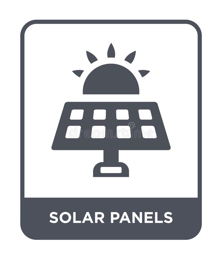 ícone dos painéis solares no estilo na moda do projeto ícone dos painéis solares isolado no fundo branco ícone do vetor dos painé ilustração stock