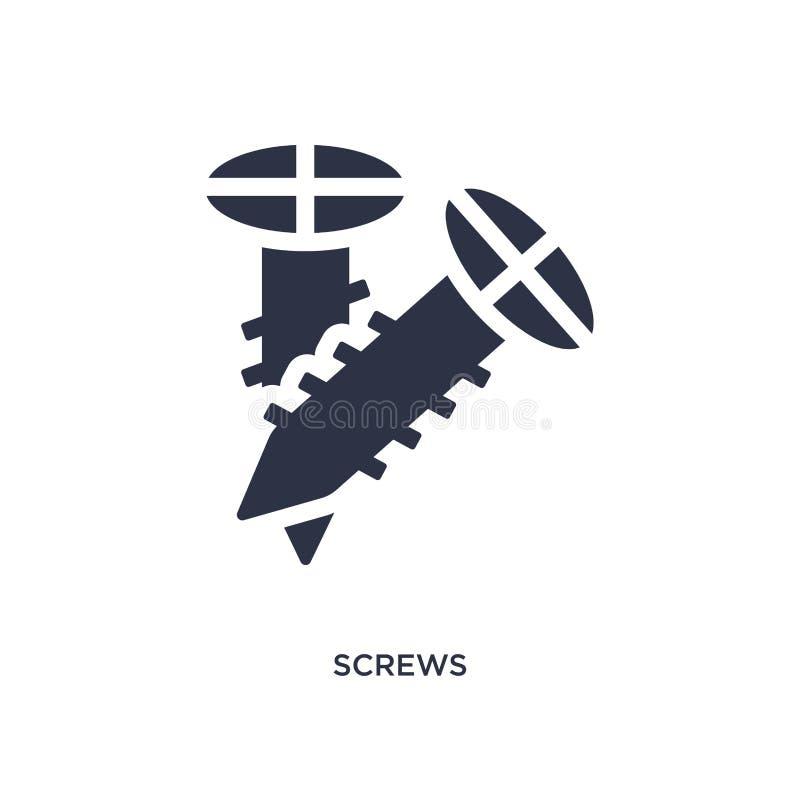 ícone dos parafusos no fundo branco Ilustração simples do elemento do conceito das ferramentas da construção ilustração stock