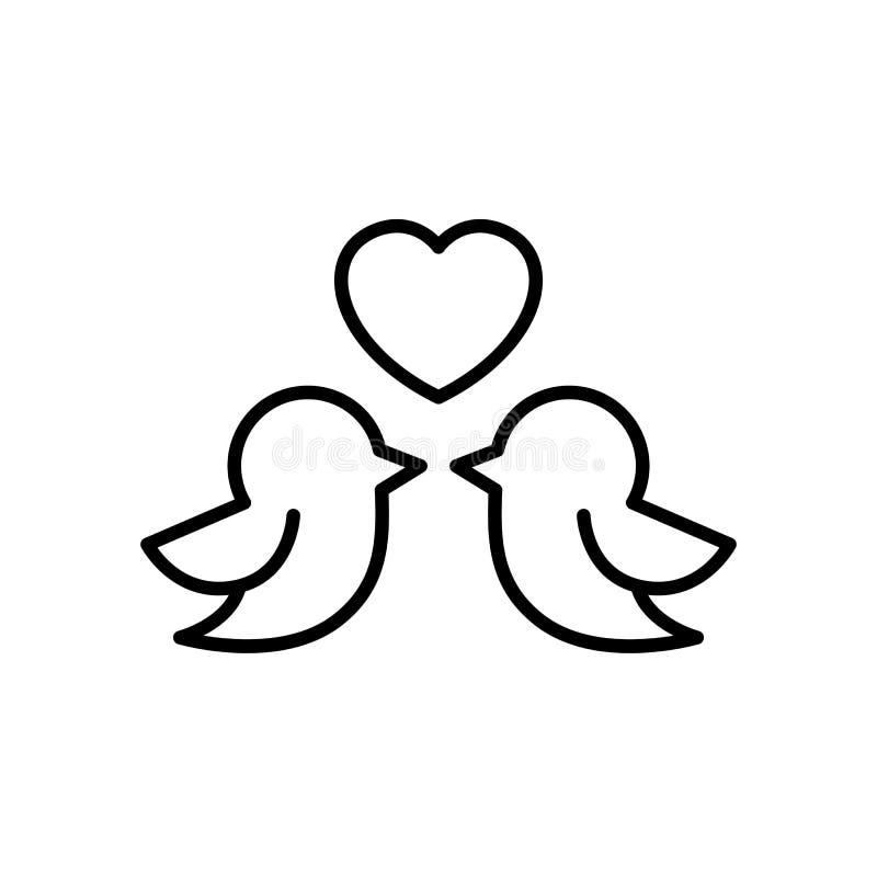 Ícone dos pares do pássaro do amor para o projeto da ilustração do conceito do casamento símbolo limpo simples do monoline ilustração stock