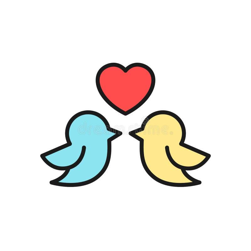 Ícone dos pares do pássaro do amor para o projeto da ilustração do conceito do casamento símbolo limpo simples do monoline ilustração do vetor