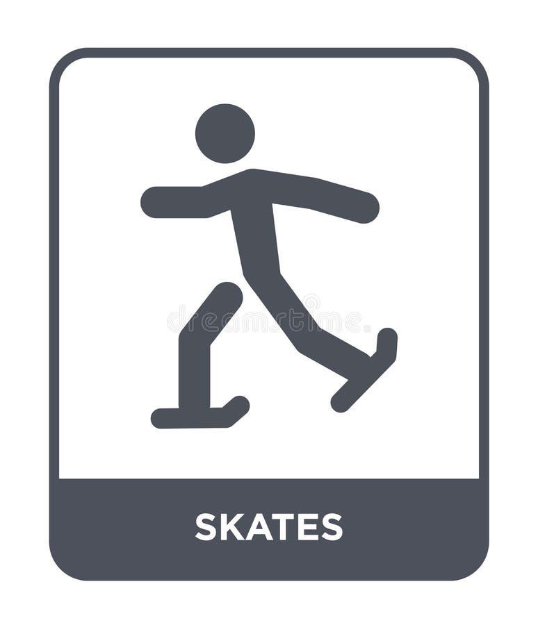 ícone dos patins no estilo na moda do projeto Patina o ícone isolado no fundo branco símbolo liso simples e moderno do ícone do v ilustração royalty free